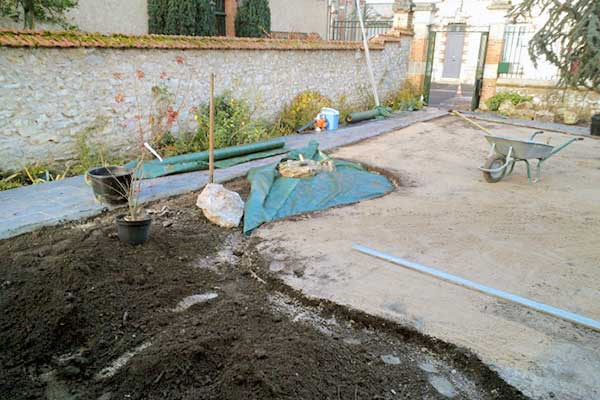 chantier jardin mineral bonzais