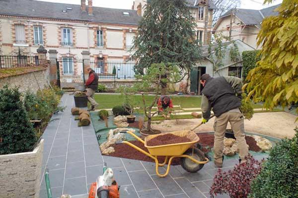 chantier bonzais jardin mineral
